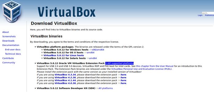 download virtual box All supported platforms
